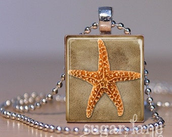 Starfish Scrabble Necklace - (RBD3 - Tan, Orange, Beach) - Scrabble Tile Pendant with Chain