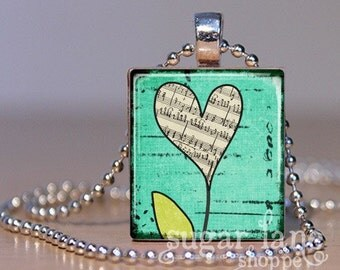 20% Off w/Coupon - Heart-Shaped Flower Necklace - (0259D4 - Aqua, Lime Green, Ephmera) - Scrabble Tile Pendant with Chain