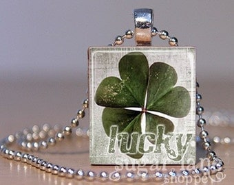 Vintage Four-Leaf Clover Necklace - (SVF5 - Lucky, Green, White, St. Patrick's Day) - Scrabble Tile Pendant with Chain