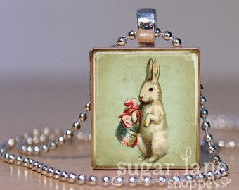Vintage Easter Bunny Necklace (EBCD6 - Mint Green, Ivory, Pink) - Scrabble Tile Pendant with Chain - Vintage Style Easter Pendant