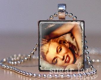 Scrabble Tile Pendant with chain - Vintage Marilyn Monroe Necklace - (FAVD4)
