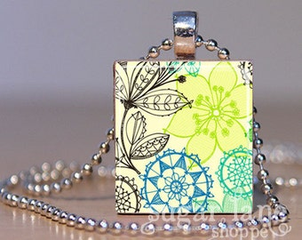 Doodled Flowers Necklace - (PVB2 - Lime Aqua Black Green) - Scrabble Tile Pendant with Chain
