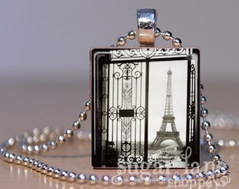 Eiffel Tower Necklace - (VPA1 - Paris, 1925, Black and White) - Scrabble Tile Pendant with Chain