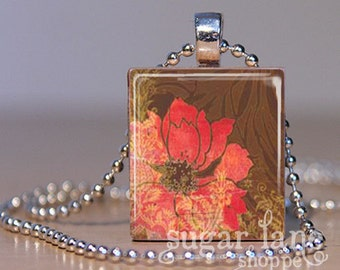 Red Flower Necklace - (SFC1 - Brown, Red, Gold) - Scrabble Tile Pendant with Chain