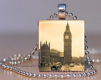 Vintage London Big Ben Necklace - (UKSB4) - Scrabble Tile Pendant with Chain