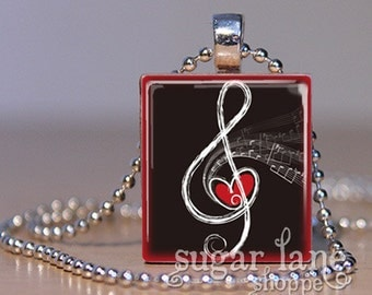 Music Treble Clef Necklace - Charcoal Gray, Red Heart, White Music - Scrabble Tile Pendant with Chain
