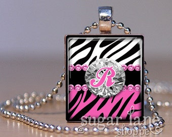 20% Off w/Coupon - Monogram Initial Necklace - Wild Zebras, Pink Bling - Scrabble Tile Pendant with Chain