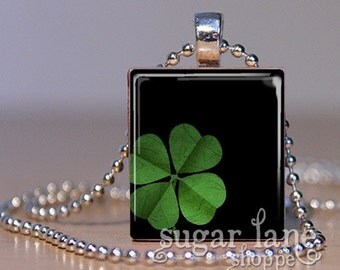 Four-Leaf Clover Necklace - (SPM2 -St. Patrick's Day, Green, Four-Leaf Clover) - Scrabble Tile Pendant with Chain