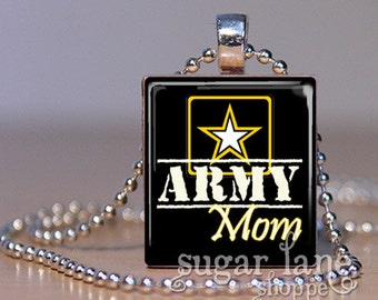 20% Off w/Coupon - Army Mom Necklace - (Black, Yellow, White, Star) - Scrabble Tile Pendant with Chain