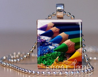 Rainbow Colored Pencils Necklace - (IG1 - Purple, Blue, Green, Yellow, Red) - Scrabble Tile Pendant with Chain