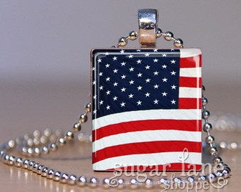 American Flag Scrabble Necklace - (Patriotic, Red, White, Blue, Stars) - Scrabble Tile Pendant with Chain