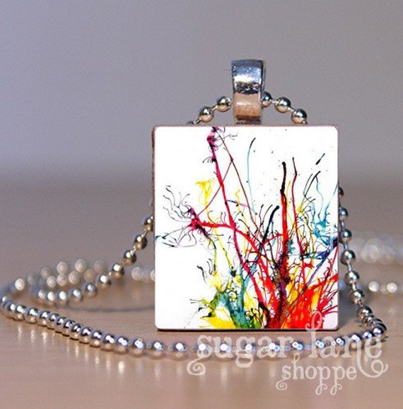 Paint Splatter Necklace - (MA2 - Red, Blue, Green, Yellow) - Scrabble Tile Pendant with Chain