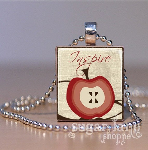 20% Off w/Coupon - Inspire Teacher's Scrabble Necklace - Red, Brown, Ivory - Scrabble Tile Pendant with Chain
