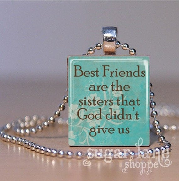 Best Friends Scrabble Necklace - (Turquoise, Brown) -  Scrabble Tile Pendant with Chain
