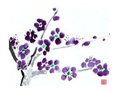 Plum Blossom-Purple-Set of five notecards