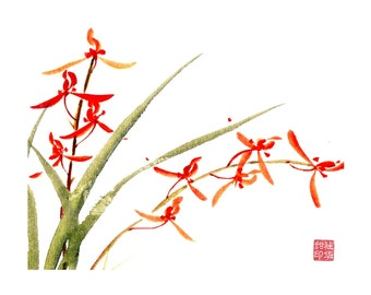 Orchid-Red-Set of five notecards