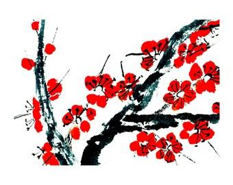 Plum Blossom - Red - Notecard, set of 5