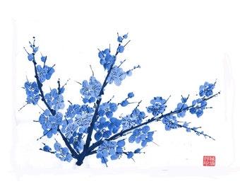 Plum Blossom - Blue 2 - Notecard, set of 5
