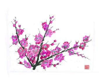 Plum Blossom - Pink 2 - Notecard, set of 5