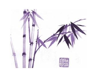 Bamboo - Purple - Notecard, set of 5