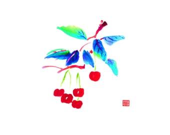 Cherries 2 - Set of five notecards