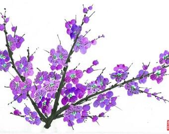 Plum Blossom - Purple 605 - Notecard, set of 5