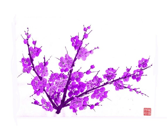 Plum Blossom-Purple 3 - Set of 5 notecards