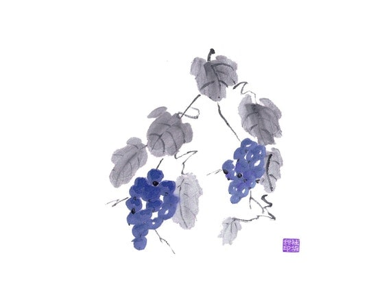 Grapes 4 - Set of five notecards