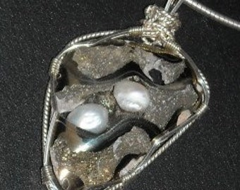 Pyritized Ammonite and Pearl Sterling Silver Pendant