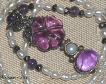Purple Flower Necklace of Amethyst, Flourite and Freshwater Pearls