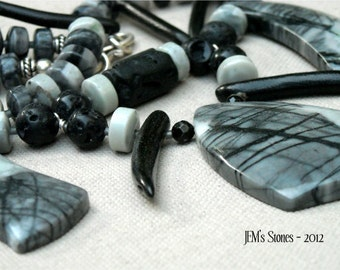 Black Coral and Picasso Jasper Tribal Inspired Spiked Necklace