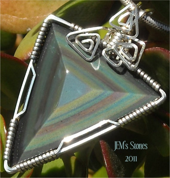 The Shape of a Rainbow - Obsidian and Sterling Silver Pendant