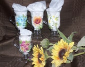 Hand Painted Glass Coffee or Tea Cups with Flowers