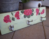 Hand-Painted Coat/Hat Rack With Red Geraniums