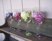 Hand-Painted Wine Glasses with Grape Design Set of 4