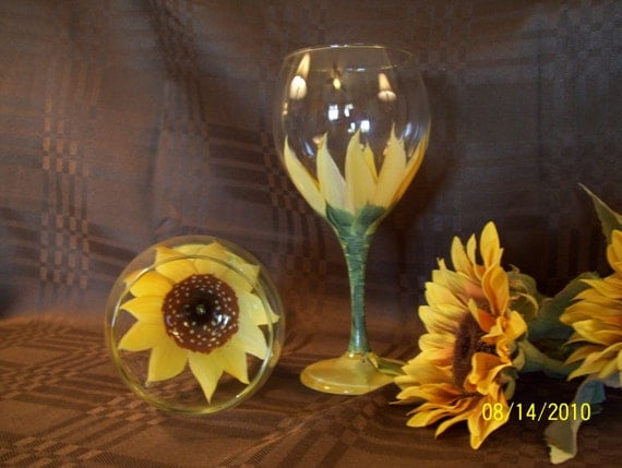 Hand-Painted Wine Glasses with Sunflower Design