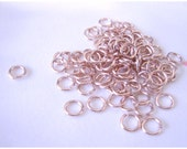 ROSE Gold Plated, open round Jump rings, connectors, findings, 4mm-50pcs. JAPAN
