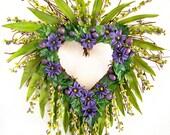 CUSTOM ORDER FOR C.M. -- Purple Heart-shaped Sunburst Wreath