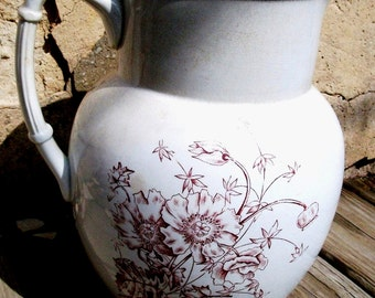 "CLEARANCE!!!   Antique IRONSTONE PITCHER Large Sz  Marked ""Monitor"" with Crimson Transferware Decoration , Gr8 Condition"