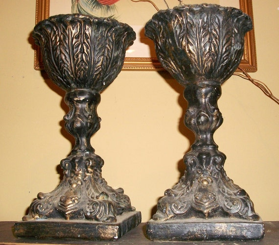 PRIVATE AUCTION for Veronica Hernandez Johnson ONLY-  Vintage Pedestal Urns