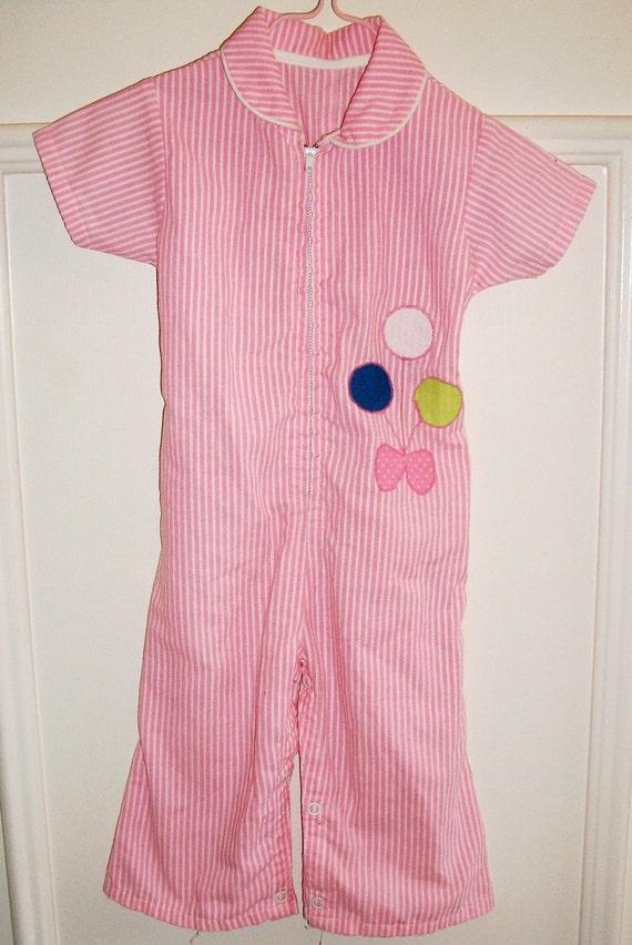 VINTAGE Child's Seersucker ROMPER w/Balloon Applique, Pink White Stripe - Sz. 18 mo., Charming -SALE-