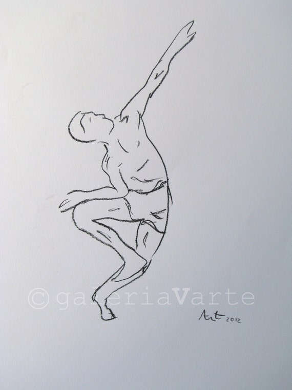 Modern dance - Original charcoal drawing - painting - europeanstreetteam