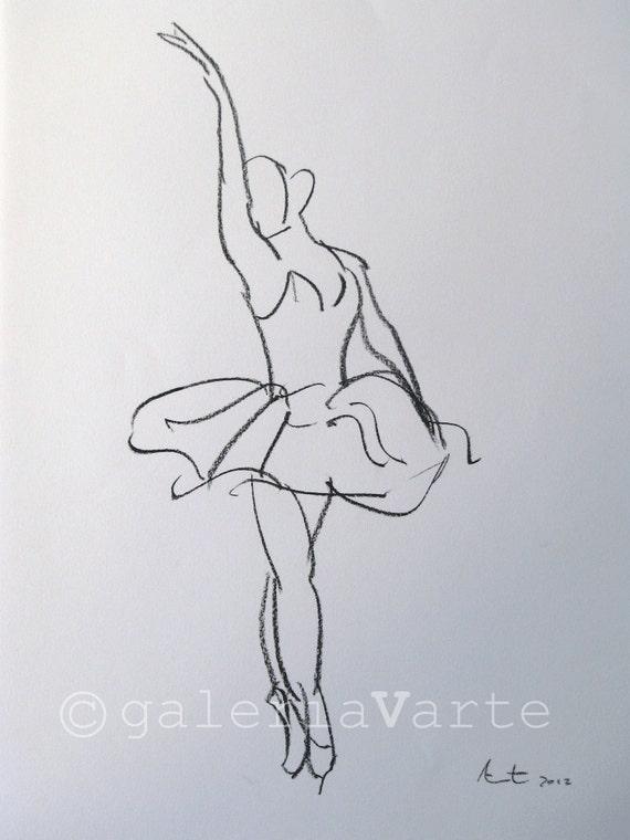Charcoal drawing - Swan Lake ballet - original painting - europeanstreetteam
