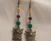 Antiqued Brass Owl dangle earrings (Reserved)