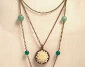 Layered Brass and Bronze Cream and Turquoise necklace