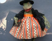 Spun Cotton Halloween Ornament  The Frog Witch