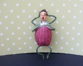 Purple Onion Man Spun Cotton Ornament