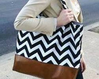 Slouchy Black and White Chevron diaper bag leather bottom diaper bag tote bag in black with leather, market Bag, Purse, Zig Zag, Leather