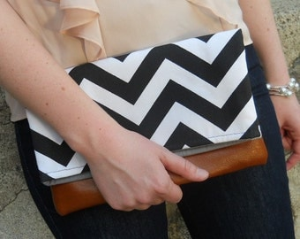 fold over chevron Clutch, leather bottom clutch, fold over bridesmaid black chevron Bag, zig zag, Purse, black and white