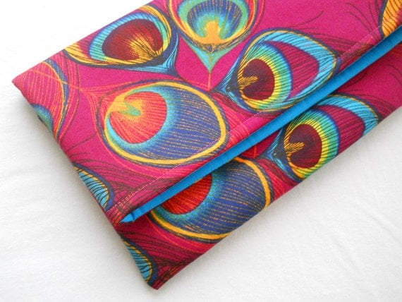 Clutch, Peacock Foldover Clutch, pink, bags